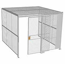 "3-Wall Woven Wire Security Cage, w/Ceiling, 10'4"" x 10'2"" x 8'5-1/4"" with 5' sliding gate"