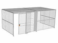 "3-Wall Woven Wire Security Cage, w/Ceiling, 20'6"" x 10'2"" x 8'5-1/4"" with 5' sliding gate"