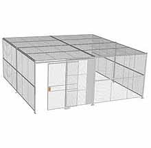 "3-Wall Woven Wire Security Cage, w/Ceiling, 20'6"" x 20'4"" x 8'5-1/4"" with 5' sliding gate"