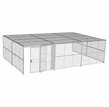 "3-Wall Woven Wire Security Cage, w/Ceiling, 30'8"" x 20'4"" x 8'5-1/4"" with 5' sliding gate"