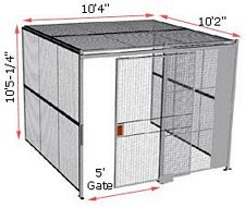 "3-Wall Woven Wire Security Cage, w/Ceiling, 10'4"" x 10'2"" x 10'5-1/4"" with 5' sliding gate"