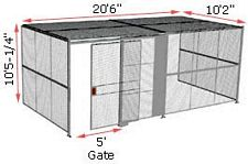 "3-Wall Woven Wire Security Cage, w/Ceiling, 20'6"" x 10'2"" x 10'5-1/4"" with 5' sliding gate"