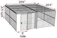 "3-Wall Woven Wire Security Cage, w/Ceiling, 20'6"" x 20'4"" x 10'5-1/4"" with 5' sliding gate"