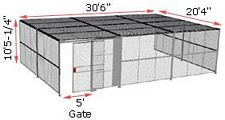 "3-Wall Woven Wire Security Cage, w/Ceiling, 30'6"" x 20'4"" x 10'5-1/4"" with 5' sliding gate"