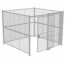 "4-Wall Woven Wire Security Cage, No Ceiling, 10'4"" x 10'4"" x 8'5-1/4"" with 5' sliding gate"