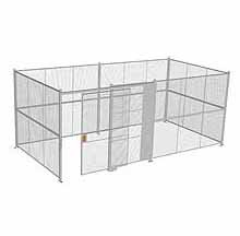 "4-Wall Woven Wire Security Cage, No Ceiling, 20'6"" x 10'4"" x 8'5-1/4"" with 5' sliding gate"