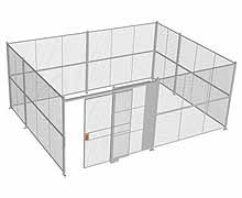 "4-Wall Woven Wire Security Cage, No Ceiling, 20'6"" x 15'6"" x 8'5-1/4"" with 5' sliding gate"