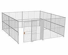 "4-Wall Woven Wire Security Cage, No Ceiling, 20'6"" x 20'6"" x 8'5-1/4"" with 5' sliding gate"