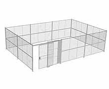 "4-Wall Woven Wire Security Cage, No Ceiling, 30'8"" x 20'6"" x 8'5-1/4"" with 5' sliding gate"
