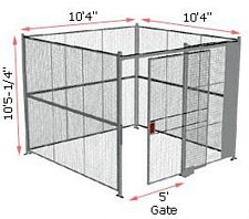 "4-Wall Woven Wire Security Cage, No Ceiling, 10'4"" x 10'4"" x 10'5-1/4"" with 5' sliding gate"