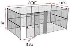 "4-Wall Woven Wire Security Cage, No Ceiling, 20'6"" x 10'4"" x 10'5-1/4"" with 5' sliding gate"