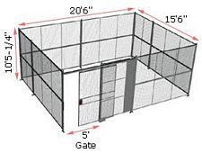 "4-Wall Woven Wire Security Cage, No Ceiling, 20'6"" x 15'6"" x 10'5-1/4"" with 5' sliding gate"