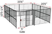 "4-Wall Woven Wire Security Cage, No Ceiling, 20'6"" x 20'6"" x 10'5-1/4"" with 5' sliding gate"