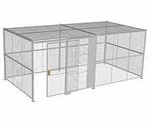 "4-Wall Woven Wire Security Cage, w/Ceiling, 20'6"" x 10'4"" x 8'5-1/4"" with 5' sliding gate"
