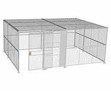 "4-Wall Woven Wire Security Cage, w/Ceiling, 20'6"" x 15'6"" x 8'5-1/4"" with 5' sliding gate"