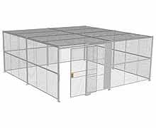 "4-Wall Woven Wire Security Cage, w/Ceiling, 20'6"" x 20'6"" x 8'5-1/4"" with 5' sliding gate"