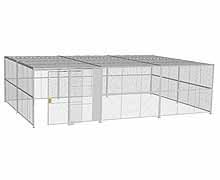 "4-Wall Woven Wire Security Cage, w/Ceiling, 30'8"" x 20'6"" x 8'5-1/4"" with 5' sliding gate"