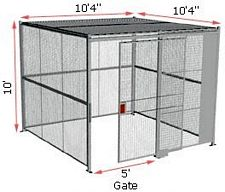 "4-Wall Woven Wire Security Cage, w/Ceiling, 10'4"" x 10'4"" x 10'5-1/4"" with 5' sliding gate"
