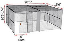 "4-Wall Woven Wire Security Cage, w/Ceiling, 20'6"" x 15'6"" x 10'5-1/4"" with 5' sliding gate"