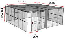 "4-Wall Woven Wire Security Cage, w/Ceiling, 20'6"" x 20'6"" x 10'5-1/4"" with 5' sliding gate"