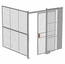 "2-Wall Woven Wire Security Cage, No Ceiling, 8'2"" x 8'2"" x 8'5-1/4"" with 4' sliding gate"