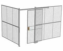 "2-Wall Woven Wire Security Cage, No Ceiling, 12'4"" x 8'2"" x 8'5-1/4"" with 4' sliding gate"