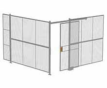 "2-Wall Woven Wire Security Cage, No Ceiling, 12'4"" x 12'4"" x 8'5-1/4"" with 4' sliding gate"