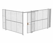 "2-Wall Woven Wire Security Cage, No Ceiling, 16'4"" x 12'4"" x 8'5-1/4"" with 4' sliding gate"