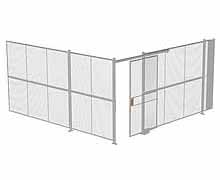 "2-Wall Woven Wire Security Cage, No Ceiling, 16'4"" x 16'4"" x 8'5-1/4"" with 4' sliding gate"