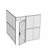 "2-Wall Woven Wire Security Cage, No Ceiling, 8'2"" x 8'2"" x 8'5-1/4"" with 3' hinged gate"