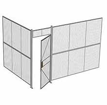 "2-Wall Woven Wire Security Cage, No Ceiling, 12'4"" x 8'2"" x 8'5-1/4"" with 3' hinged gate"