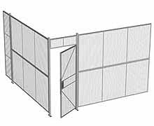 "2-Wall Woven Wire Security Cage, No Ceiling, 12'4"" x 12'4"" x 8'5-1/4"" with 3' hinged gate"