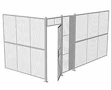 "2-Wall Woven Wire Security Cage, No Ceiling, 16'4"" x 8'2"" x 8'5-1/4"" with 3' hinged gate"