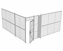 "2-Wall Woven Wire Security Cage, No Ceiling, 16'4"" x 16'4"" x 8'5-1/4"" with 3' hinged gate"