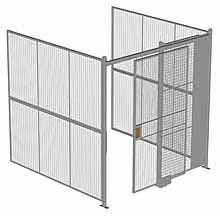 "3-Wall Woven Wire Security Cage, No Ceiling, 8'4"" x 8'2"" x 8'5-1/4"" with 4' sliding gate"