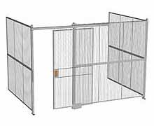 "3-Wall Woven Wire Security Cage, No Ceiling, 12'6"" x 8'2"" x 8'5-1/4"" with 4' sliding gate"