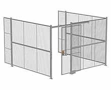 "3-Wall Woven Wire Security Cage, No Ceiling, 12'6"" x 12'4"" x 8'5-1/4"" with 4' sliding gate"
