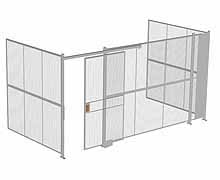"3-Wall Woven Wire Security Cage, No Ceiling, 16'6"" x 8'2"" x 8'5-1/4"" with 4' sliding gate"
