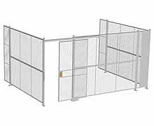 "3-Wall Woven Wire Security Cage, No Ceiling, 16'6"" x 12'4"" x 8'5-1/4"" with 4' sliding gate"