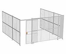 "3-Wall Woven Wire Security Cage, No Ceiling, 16'6"" x 16'4"" x 8'5-1/4"" with 4' sliding gate"