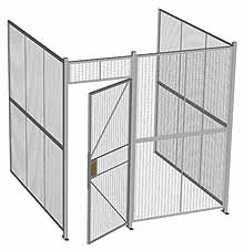 "3-Wall Woven Wire Security Cage, No Ceiling, 8'4"" x 8'2"" x 8'5-1/4"" with 3' hinged gate"