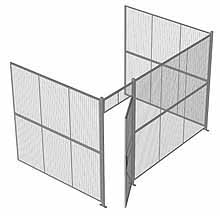 "3-Wall Woven Wire Security Cage, No Ceiling, 12'6"" x 8'2"" x 8'5-1/4"" with 3' hinged gate"