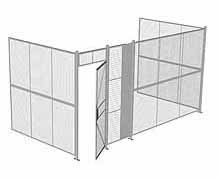 "3-Wall Woven Wire Security Cage, No Ceiling, 16'6"" x 8'2"" x 8'5-1/4"" with 3' hinged gate"