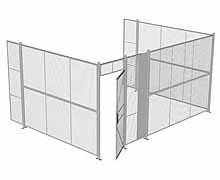 "3-Wall Woven Wire Security Cage, No Ceiling, 16'6"" x 12'4"" x 8'5-1/4"" with 3' hinged gate"