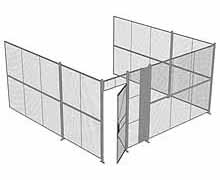 "3-Wall Woven Wire Security Cage, No Ceiling, 16'6"" x 16'4"" x 8'5-1/4"" with 3' hinged gate"