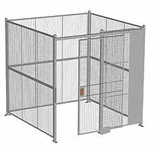 "4-Wall Woven Wire Security Cage, No Ceiling, 8'4"" x 8'4"" x 8'5-1/4"" with 4' sliding gate"