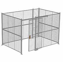 "4-Wall Woven Wire Security Cage, No Ceiling, 12'6"" x 8'4"" x 8'5-1/4"" with 4' sliding gate"