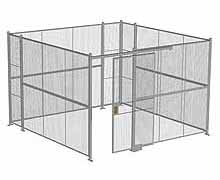 "4-Wall Woven Wire Security Cage, No Ceiling, 12'6"" x 12'6"" x 8'5-1/4"" with 4' sliding gate"
