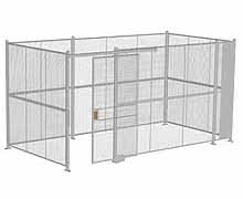 "4-Wall Woven Wire Security Cage, No Ceiling, 16'6"" x 8'4"" x 8'5-1/4"" with 4' sliding gate"