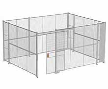 "4-Wall Woven Wire Security Cage, No Ceiling, 16'6"" x 12'6"" x 8'5-1/4"" with 4' sliding gate"
